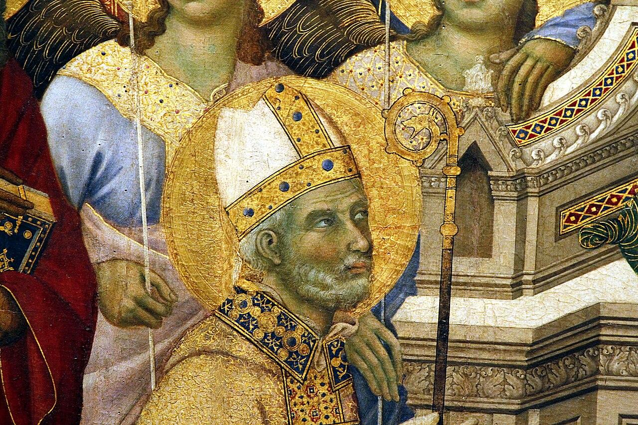 Duccio di Boninsegna, Maestà del Duomo di Siena (1308-1311)  (particolare San Savino)