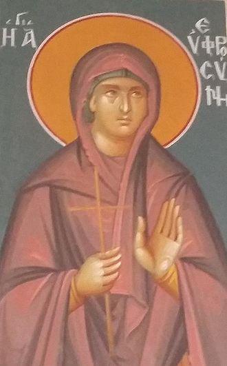 Euphrosyne of Alexandria - Fresco of Saint Euphrosyne in a Greek Orthodox Church