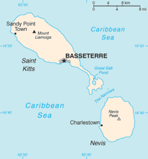Saint Kitts island in Saint Kitts and Nevis