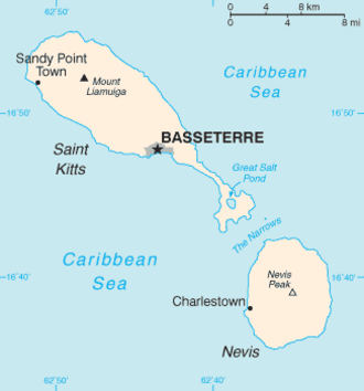 Saint Kitts - Map showing Saint Kitts and Nevis