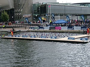 Open water swimming - Acclimatisation to the 14.5C water at Salford Quays in September 2010