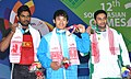 Sambo Lapung (INDIA) Gold, 1st position, I C D D Mudiyamselage (SRI LANKA) receiving 2nd position and Abu Sufyan (PAKISTAN) receiving 3rd positing in 69 kg Men's weight lifting category, at the12th South Asian Games-2016.jpg