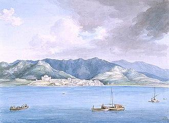 Siege of San Fiorenzo - San Fiorenzo. anonymous, c.1790s. NMM.