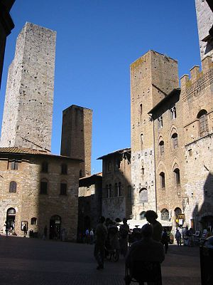 Medieval commune - Defensive towers at San Gimignano, Tuscany, bear witness to the factional strife within communes.