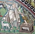 San vitale, ravenna, int., presbiterio, mosaici di sx 02 ospitalità di abramo e sacrificio di isacco 05.JPG