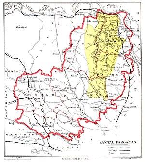Santhal Pargana division - Boundary map (1905)