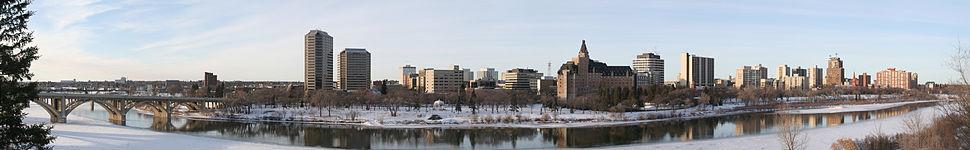 Saskatoon skyline and the South Saskatchewan River