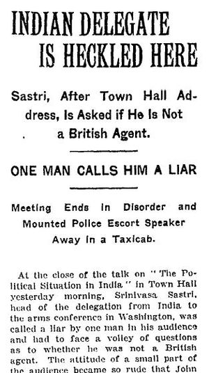 V. S. Srinivasa Sastri - Report in The New York Times dated 29 January 1922, on the incident at the Town Hall, Washington D. C.