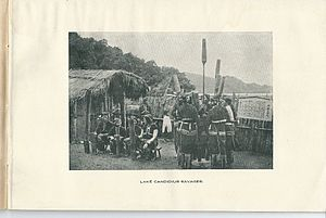 Sun Moon Lake - Taiwanese aborigines at Sun Moon Lake, photo from a 1926 brochure of the Government of Formosa