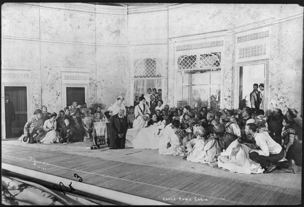"Scene from stage production of ""Uncle Tom's Cabin"", 1901)- Little Eva's death scene LCCN2004681923"