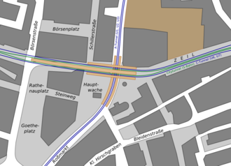 Frankfurt Hauptwache station - Map of the station area