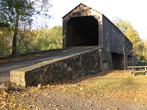 English: The covered bridge at Schofield Ford,...