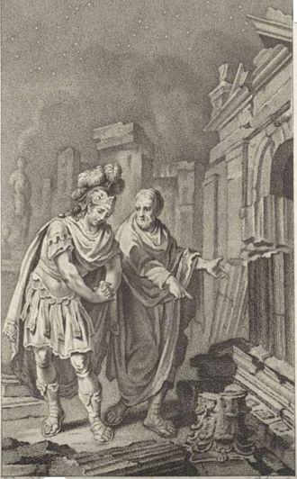 Scipio Aemilianus - 1797 engraving representing Scipio Aemilianus before the ruins of Carthage in 146 BC in the company of his friend Polybius