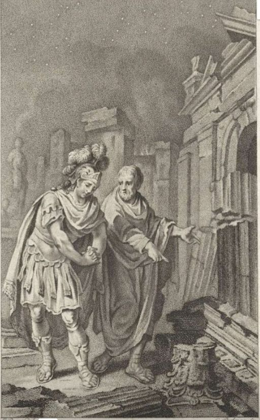 Scipion Emilien et Polybe devant les ruines de Carthage après la destruction de la ville