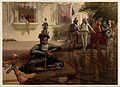 Seated holy man with figures, Amritsar, Punjab. Chromolithog Wellcome V0050524.jpg