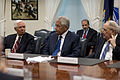 Secretary of Defense Chuck Hagel, center, talks with U.S. Sens 130410-D-BW835-101.jpg