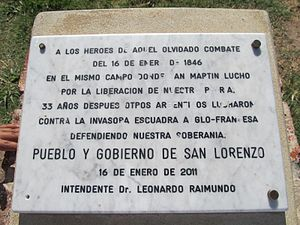 Segundo Combate de San Lorenzo (1846) - Placa conmemorativa en San Lorenzo.JPG