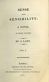 "Title page, indicating an anonymous author. ""Sense and Sensibilty: A novel. In three volumes. By a Lady. Vol.1. London: Printed for the author, by C. Roworth, Bell-yard, Temole-bar, and Template:Notatypo by T. Egerton, Whitehall, 1811."""