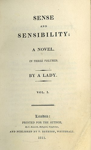 Jane Austen - First edition title page from Sense and Sensibility, Austen's first published novel (1811)