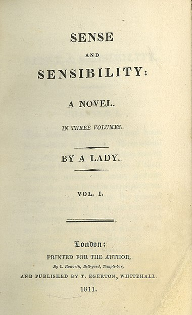 First edition title page from Sense and Sensibility, Austen's first published novel (1811) SenseAndSensibilityTitlePage.jpg
