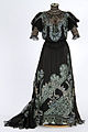 Sequined black satin and lace evening gown.jpg
