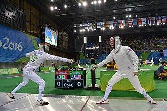 Modern pentathlon - Image: Sgt. Nathan Schrimsher competes in Modern Pentathlon at Rio Olympic Games photos by Tim Hipps, IMCOM Public Affairs (28453220414)