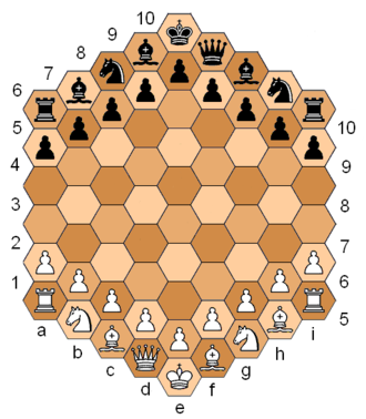 Hexagonal chess - Shafran's hexagonal chess, starting position
