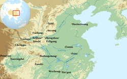 Location of the main archaeological sites of the Shang dynasty