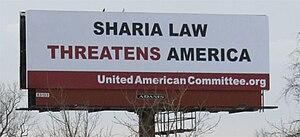 Islamophobia in the United States - Billboard advocates for Anti- Sharia laws in the United States