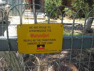 Wurundjeri Tribe Land and Compensation Cultural Heritage Council - Sign acknowledging Aboriginal Custodians of the land
