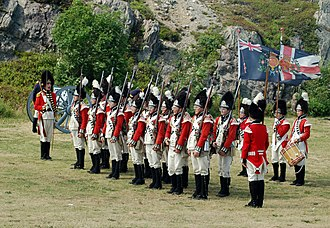 Signal Hill, St. John's - Reenactors dressed in uniform of the Newfoundland Regiment c 1795 at Signal Hill Tattoo
