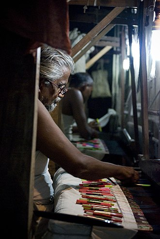 Silk in the Indian subcontinent - Tradition silk handlooms, in Varanasi India, where it usually takes two months to weave a Banarasi sari.