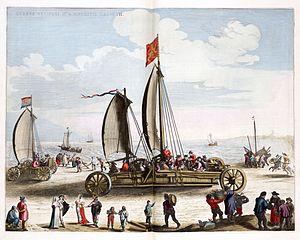 Simon Stevin - Wind chariot or land yacht (Zeilwagen) designed by Simon Stevin for Prince Maurice of Orange (Engraving by Jacques de Gheyn).
