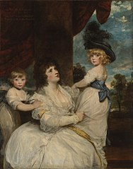 Portrait of Jane, Countess of Harrington, with her Sons, the Viscount Petersham and the Honorable LincolnStanhope