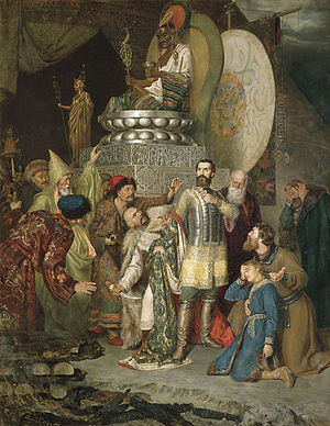 Mongol invasion of Rus' - Prince Michael of Chernigov was passed between fires in accordance with ancient Turco-Mongol tradition. Batu Khan ordered him to prostrate himself before the tablets of Genghis Khan. The Mongols stabbed him to death for his refusal to do obeisance to Genghis Khan's shrine.