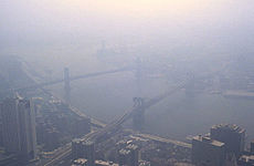 Smog in New York City as viewed from the World Trade Center in 1988.