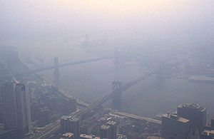 Exhaust gas - Smog in New York City as viewed from the World Trade Center in 1988