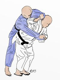 Illustration of the judo throw sode-tsuri-komi-goshi.