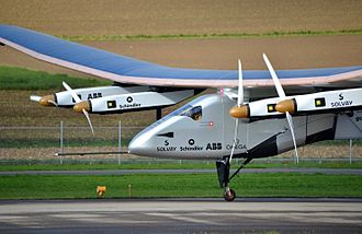 In 2016, Solar Impulse 2 was the first solar-powered aircraft to complete a circumnavigation of the world. Solar Impulse SI2 pilote Bertrand Piccard Payerne November 2014.jpg