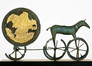 Denmark - The gilded side of the Trundholm sun chariot dating from the Nordic Bronze Age
