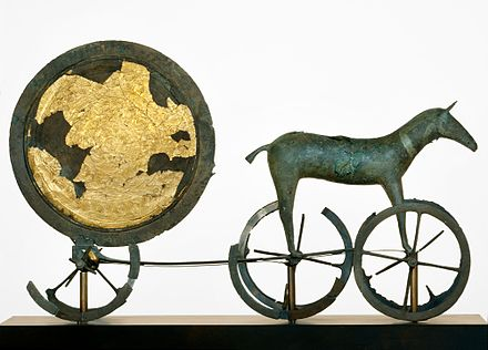 The gilded side of the Trundholm sun chariot dating from the Nordic Bronze Age Solvognen DO-6865 2000.jpg