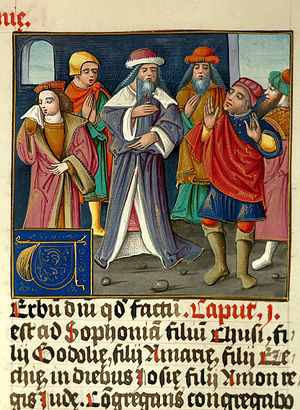 Book of Zephaniah - Zephaniah addressing people (French bible, 16th century).