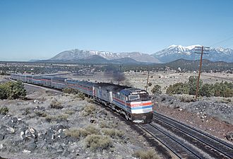 EMD SDP40F - An EMD F40PHR, rebuilt from an SDP40F, with an SDP40F on the head of the Southwest Limited 1981. The SDP40Fs time with Amtrak was drawing to a close