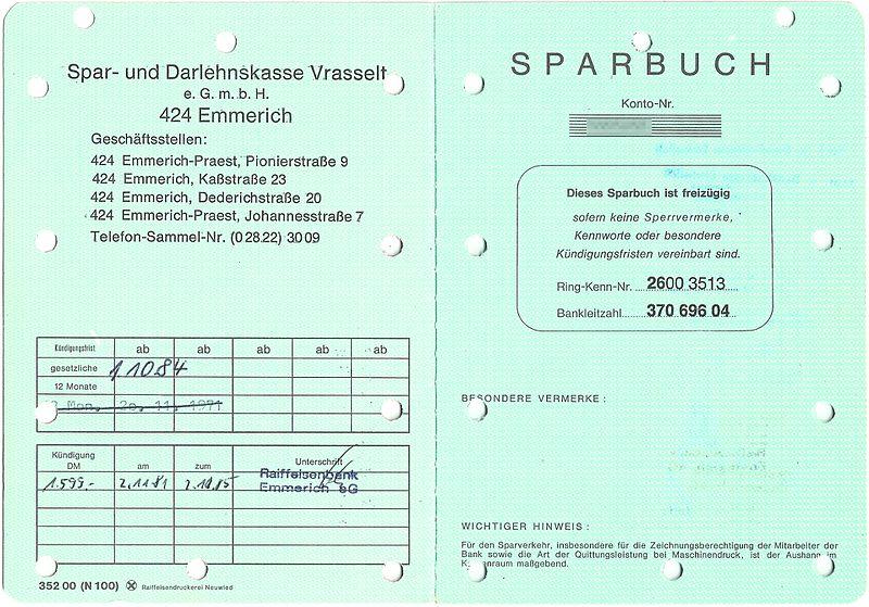 File:Sparbuch Spar- und Darlehenskasse Vrasselt, Emmerich - Umschlagseite 2 und Seite 1.jpg
