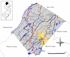 Map of Sparta Township in Sussex County. Inset: Location of Sussex County highlighted in the State of New Jersey.