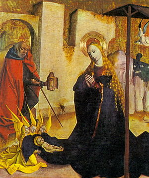 Nativity of Jesus in art - The stable is just outside the city walls, with the shepherds on the hill behind; Slovakia, c. 1490
