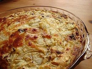 Spinach, onions, bacon, mozzarella.