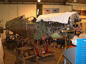 Shuttleworth Collection - Spitfire Vc, AR501, during extensive renovation by the Collection in September 2008.