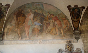 Amidei - Fresco in the Church of the Santissima Annunziata, in which Amadio resuscitates a drowned boy