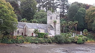 St Just in Roseland - Image: St. Just in Roseland Church from Creek